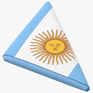 3D flag folded triangle argentina model