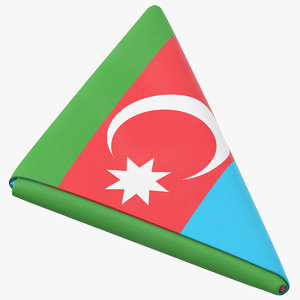 flag folded triangle azerbaijan 3D