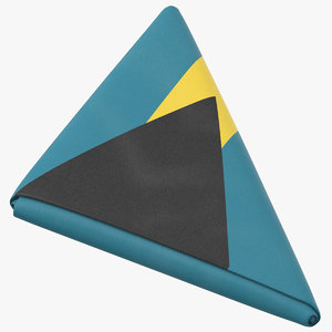 flag folded triangle bahamas 3D model
