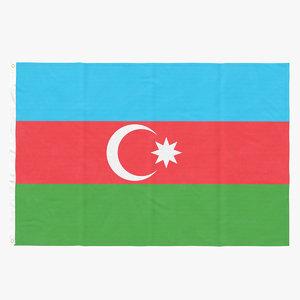 3D flag laying pose azerbaijan
