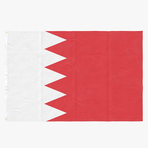 3D flag laying pose bahrain model