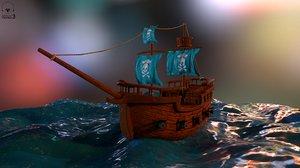 stylized pirate ship 3D