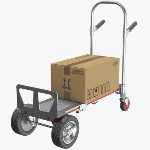 real hand truck cardboard box 3D