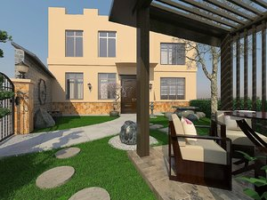 exterior yard gazebo 3D model