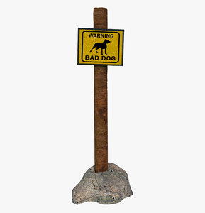 sign dog danger 3D
