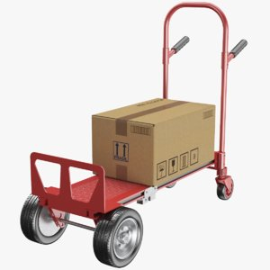 real hand truck cardboard box 3D model