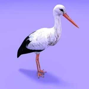 3D white stork anime