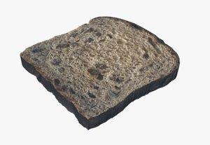 3D model cinnamon bread raisin food