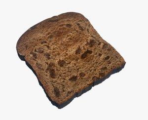 3D cinnamon bread food raisin model