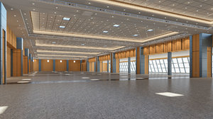 center modeled exhibition hall 3D
