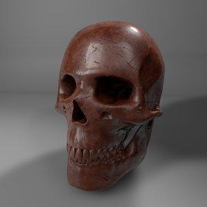 wood human skull l748 3D model