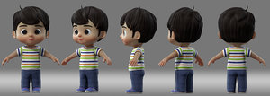3D cartoon boy child student