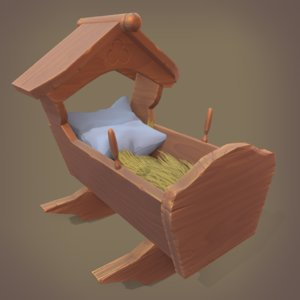 3D model cradle crib