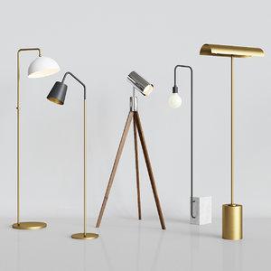 5 floor lamps set model