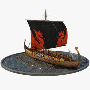 ship boat drakkar 3D
