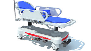 3D model ambulance patient transfer stretcher