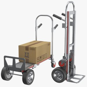 3D real hand truck cardboard box model
