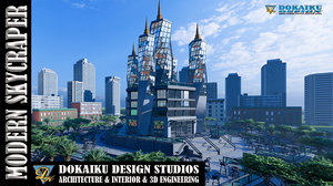 3D model modern skycraper skyscrapers building