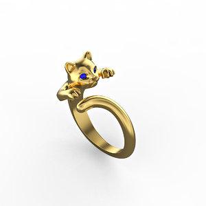 3D fashionable kitten jewelry set model