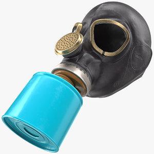 3D single filter gas mask model