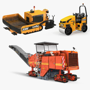 road machinery rigged machine 3D model