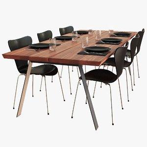 3D dark plank table set model