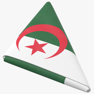 3D flag folded triangle algeria model