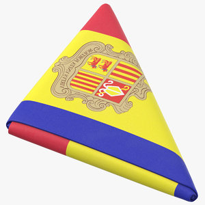 flag folded triangle andorra 3D