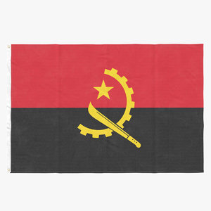 3D flag laying pose angola model