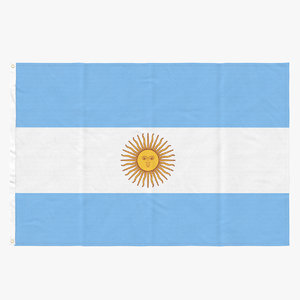 flag laying pose argentina 3D model