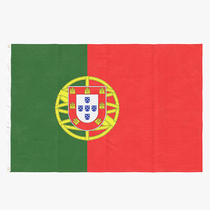 3D flag laying pose portugal model