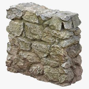 3D small rock wall 01 model