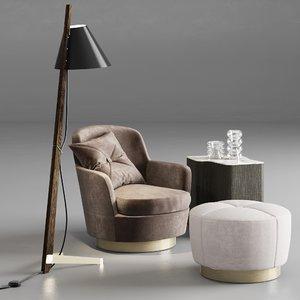 jacques armchair pouf 3D model