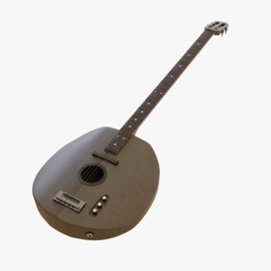 3D model microtonal bass guitar musical instrument