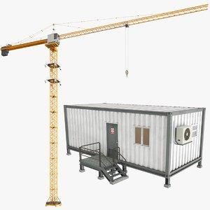 real construction equipment building crane 3D model