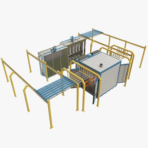 3D powder coating conveyor line