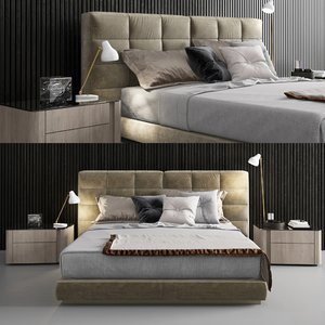minotti lawrence bed 2 3D