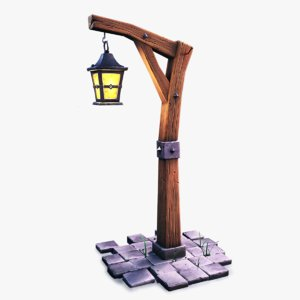 3D stylized lantern pole lights