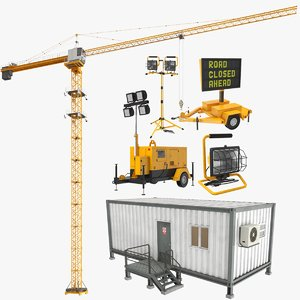 3D model real construction equipment
