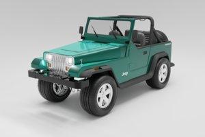 3D 1987 jeep wrangler car model