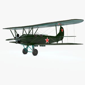 3D aircraft air po-2 model