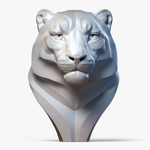 3D snow leopard bust animal model