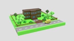3D school scene model