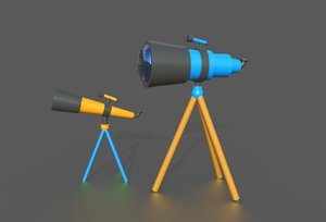 3D model telescope cartoon