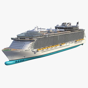 3D cruise ship rigged