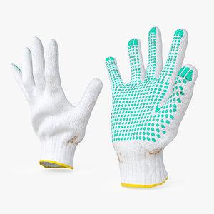 dirt work gloves 3D model