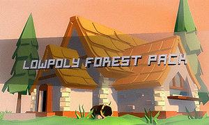 forest trees grass 3D model