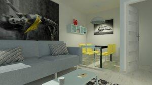 3D living room kitchen