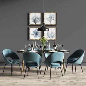 3D model dinning set 30 chair