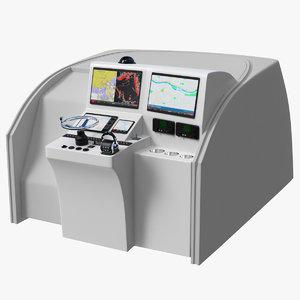 3D motor boat control panel model